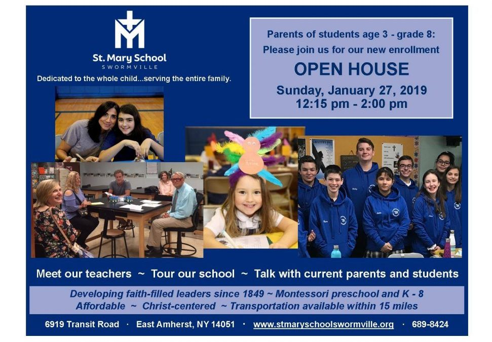 St. Mary School Open House- January 27th, 12:15-2:00PM